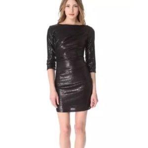 Parker Black Sequin Mini Ruched Dress Large